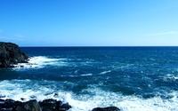 Rocks rising from the blue ocean wallpaper 1920x1080 jpg