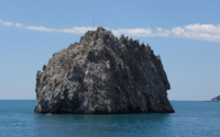 Rocky cliff in the ocean [2] wallpaper 1920x1200 jpg