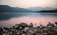 Rocky lake shore wallpaper 3840x2160 jpg