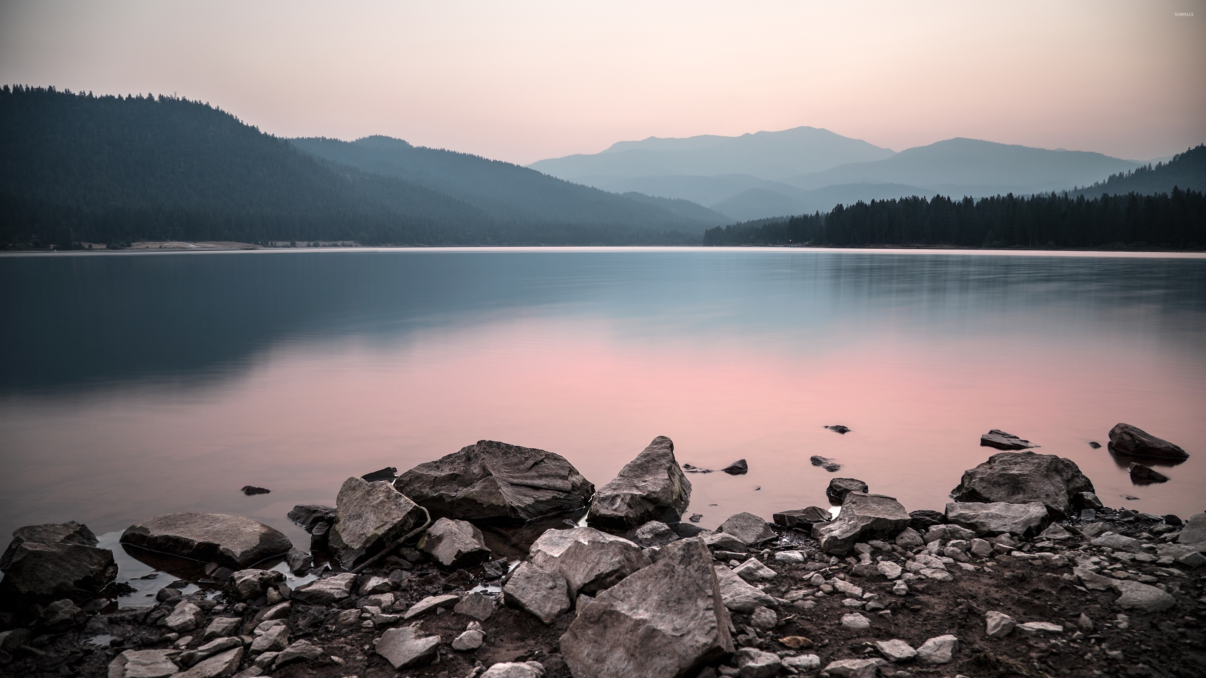 rocky lake shore wallpaper - nature wallpapers - #43374