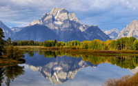 Rocky mountain reflecting in the lake wallpaper 1920x1200 jpg