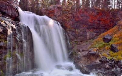 Rocky mountain waterfall wallpaper