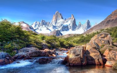 Rocky waterfall in front of the amazing rocky mountains wallpaper