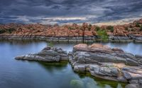 Rounded rocks on the river side wallpaper 1920x1200 jpg