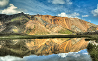 Rusty hills reflecting in the lake wallpaper 1920x1200 jpg