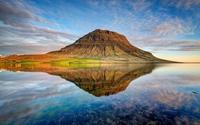 Rusty mountain reflecting in the water wallpaper 1920x1200 jpg