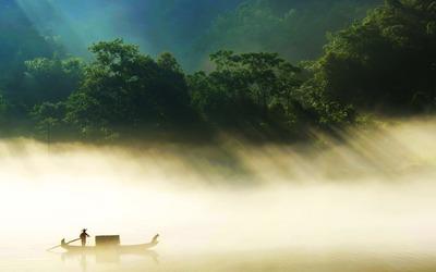 Sailing through thick fog wallpaper