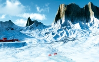 Sharp rocky peaks above the snowy mountains wallpaper 1920x1080 jpg