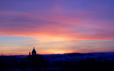 Small church at sunset wallpaper