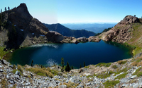 Small lake surrounded by the mountains wallpaper 2560x1600 jpg