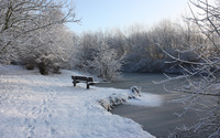 Snowy bench by the frozen river wallpaper 2560x1600 jpg