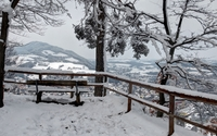 Snowy bench on the hill wallpaper 2560x1600 jpg