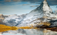 Snowy Matterhorn reflecting in the lake wallpaper 1920x1080 jpg