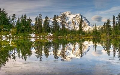Snowy mountain by the lake Wallpaper