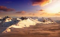 Snowy mountain peaks above the clouds wallpaper 1920x1080 jpg