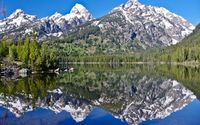 Snowy mountains reflecting in the lake wallpaper 1920x1200 jpg