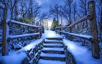 Snowy stairway wallpaper 1920x1200 jpg