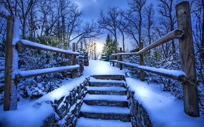 Snowy stairway wallpaper