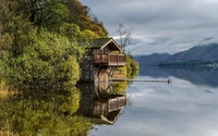 Stone house on the lake wallpaper 2560x1600 jpg