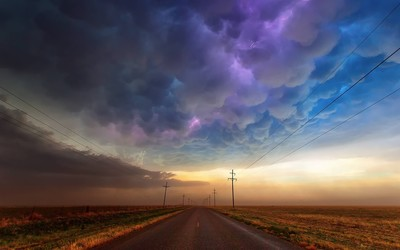 Storm passing over Tucumcari road wallpaper