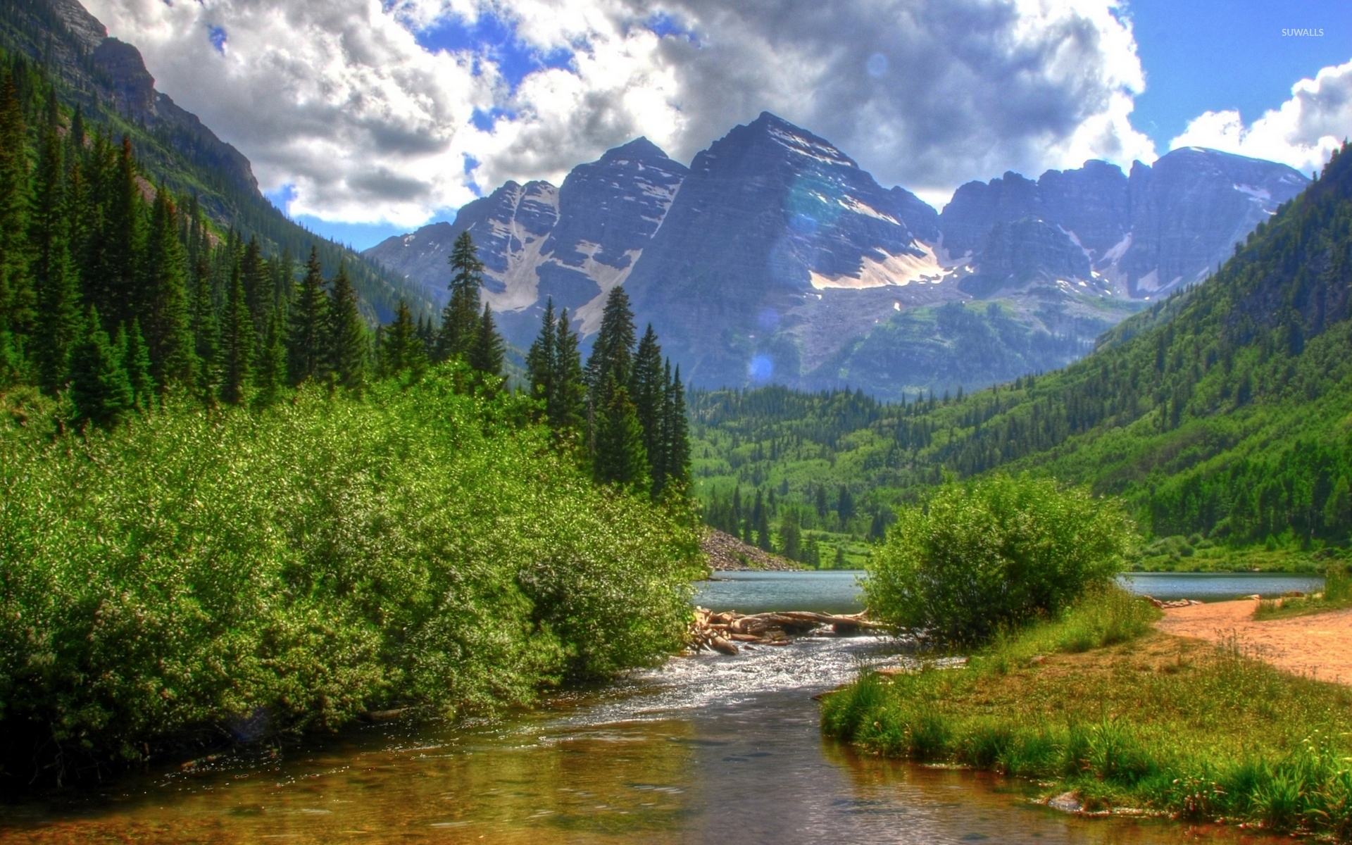 Summer day by the snowy mountains wallpaper