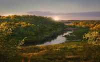 Sun rises above the river wallpaper 1920x1200 jpg