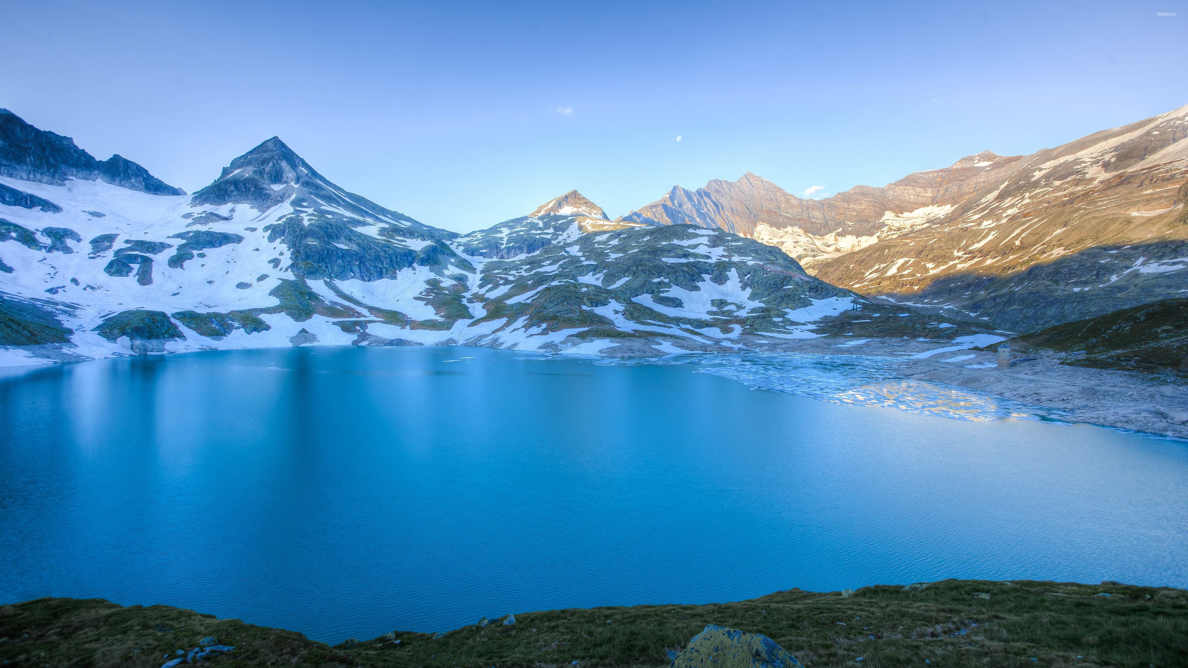 Sunny Day At The Blue Lake Mountain Wallpaper Nature