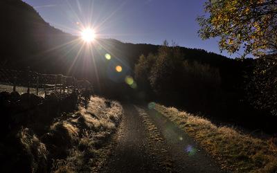 Sunny path through the mountains wallpaper