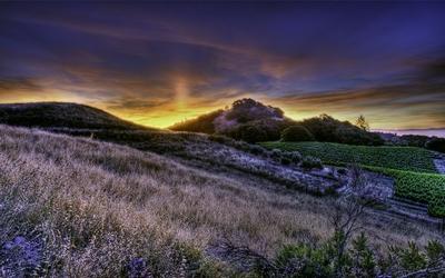 Sunrise over the hills wallpaper