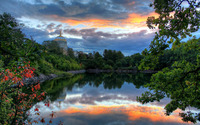 Sunset at in the church park wallpaper 1920x1200 jpg