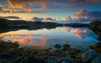Sunset clouds reflecting in the lake wallpaper 2560x1600 jpg