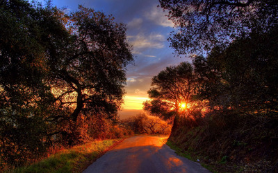 Sunset on a mountain road wallpaper