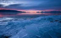 Sunset over frozen lake wallpaper 1920x1200 jpg
