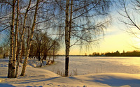 Sunset over the frozen lake wallpaper 1920x1200 jpg