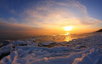 Sunset over the icy ocean wallpaper 1920x1200 jpg