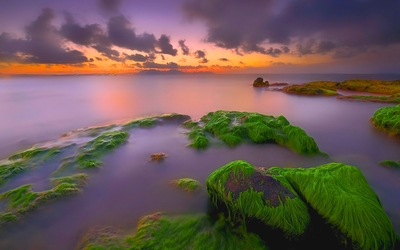 Sunset over the mossy rocks wallpaper