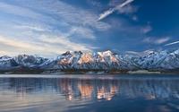 Sunset over the snowy peaks wallpaper 1920x1200 jpg
