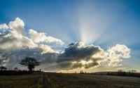 Sunset piercing through the clouds wallpaper 1920x1200 jpg