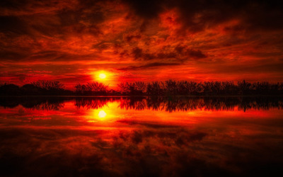 Superb red sunset wallpaper