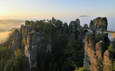 The Bastei Bridge at sunset wallpaper