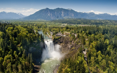Top view of Snoqualmie Falls wallpaper