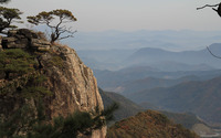 Trees on the rocky peak guarding the valley wallpaper 2880x1800 jpg