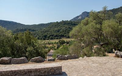 View over the Santuari de Lluc monastery wallpaper