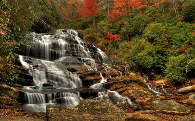 Waterfall in an autumn forest wallpaper