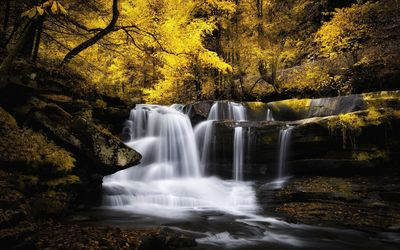 Waterfall in the autumn woods wallpaper