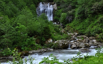 Waterfall on a rocky river in the green forest wallpaper
