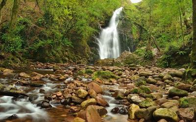Waterfall on mossy rocks [3] wallpaper