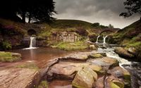 Waterfall on rocky river wallpaper 1920x1200 jpg