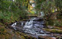 Waterfall under the wooden bridge wallpaper 2880x1800 jpg