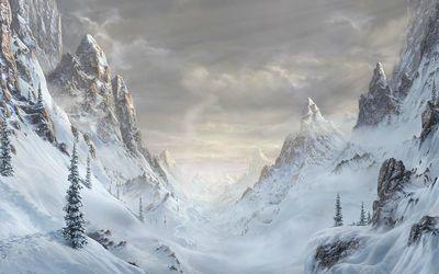 White mountain valley Wallpaper